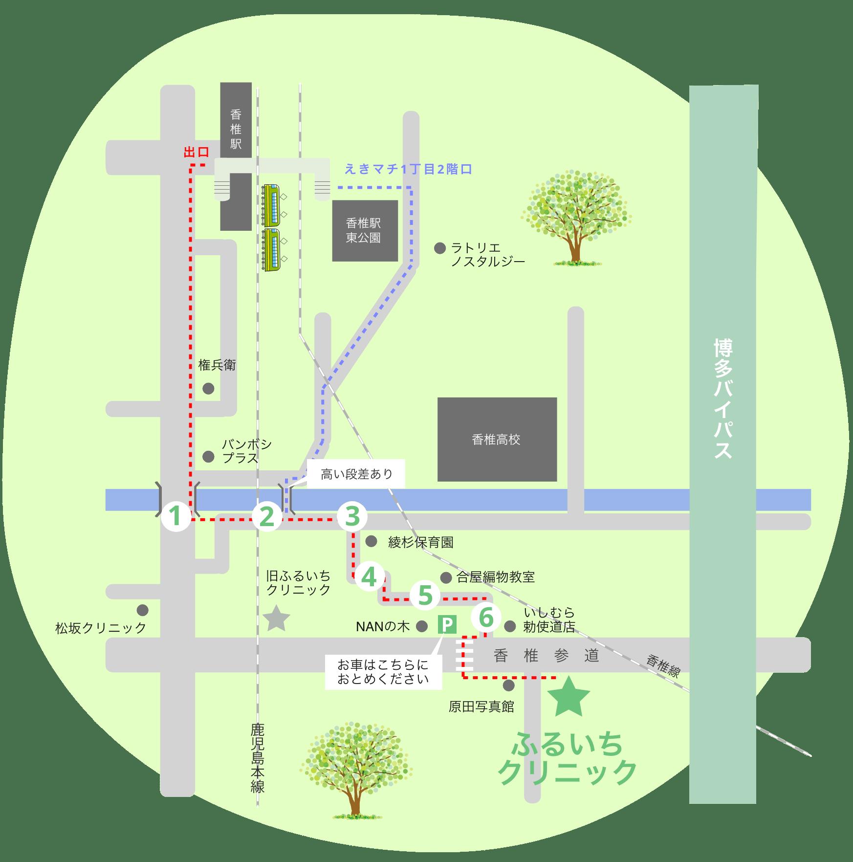 香椎駅方面からふるいちクリニックへお越しいただく場合の道順を示した全体地図